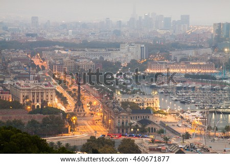 Evening panorama of the city of Barcelona Spain, From the mountain of Montjiuc.