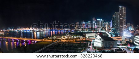 Evening panorama of the Miami city skyline and Biscayne Bay - stock photo