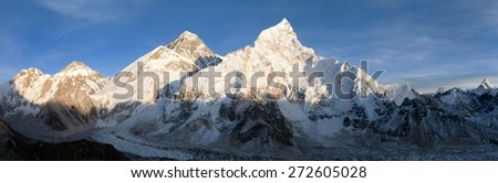 Evening panoramic view of Mount Everest from Kala Patthar warm tone - Way to Everest base camp, Everest area, Sagarmatha national park, Khumbu valley, Nepal - stock photo