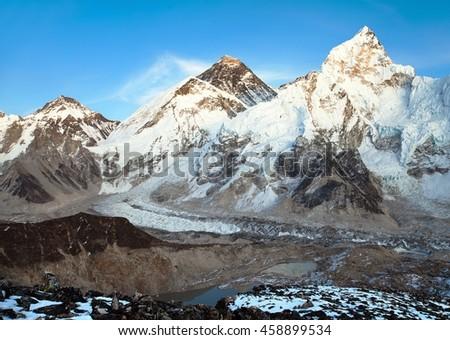 Evening panoramic view of Mount Everest from Kala Patthar - Way to Everest base camp, Everest area, Sagarmatha national park, Khumbu valley, Nepal - stock photo