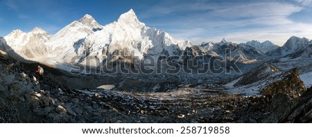 evening panoramic view of Mount Everest with beautiful sky and Khumbu Glacier - way to Everest basecamp - Nepal  - stock photo
