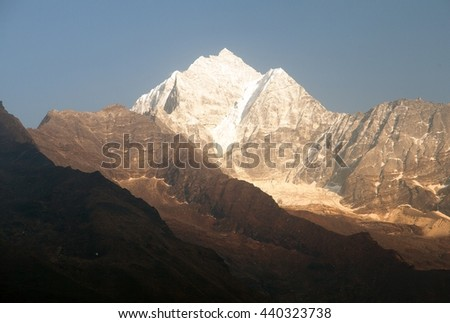 Evening panoramic view of mount Thamcerku, beautiful mounts above the Namche Bazar on the way to Everest Base Camp, Nepal  - stock photo