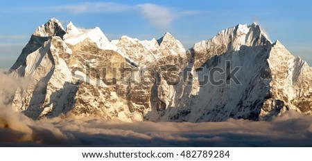 Evening panoramic view of mounts Kangtega and Thamserku fromm Gokyo Ri, Everest area, Khumbu valley, Nepal