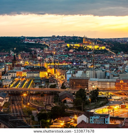 Evening Prague scene - stock photo