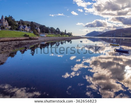 Evening reflections on Loch Linhe, Fort William, Scotland, UK