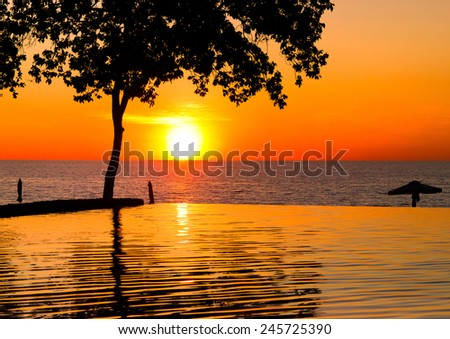 Evening Relaxation Swimming to Eternity  - stock photo