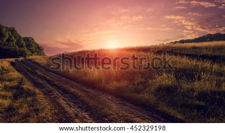 evening road in the field. with warm sunlight in the twilight. pink sky. majestic sunrise,  sunset. wonderful blooming field. soft selective focus.  picturesque scene. breathtaking scenery. - stock photo