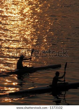 Evening rowing - stock photo