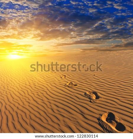 evening sandy desert - stock photo