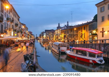 Evening scene along the Naviglio Grande canal in Milan, Italy.