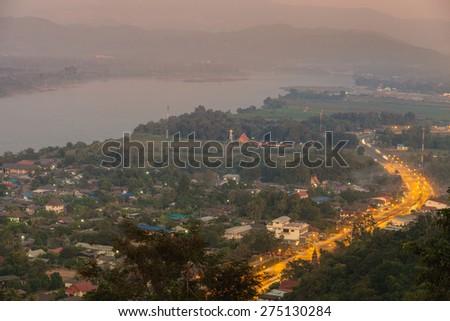 Evening scene at Chiang saen, Chiang rai. - stock photo