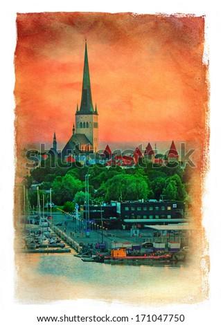 Evening scenic summer view of Tallinn, Estonia. Vintage painting effect. - stock photo