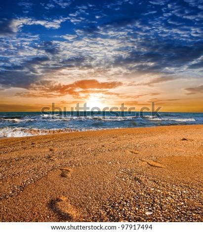 evening sea coast - stock photo