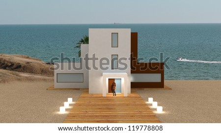 Evening sea house
