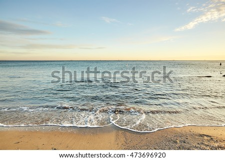 Evening sea, seascape, natural light, sundown