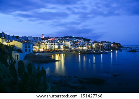 Evening shot of the famous spanish seaside town, Calella de Palafrugell, Costa Brava, Spain.