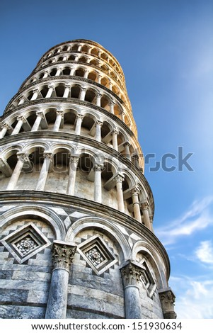 Evening Shot of the Leaning Tower in Pisa - stock photo