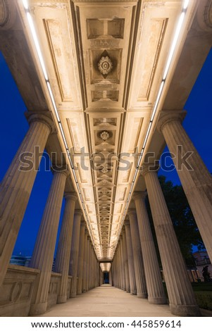 Evening shot of the old colonnade on Museum Island in Berlin, Germany - stock photo