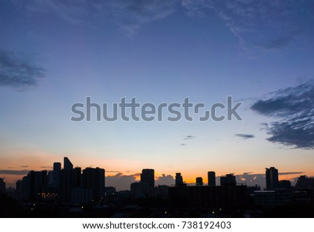 Evening sky sunset,Silhouette building, soft focus