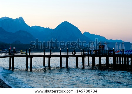 Evening skyline of Taurus mountains in Kemer, Turkey - stock photo
