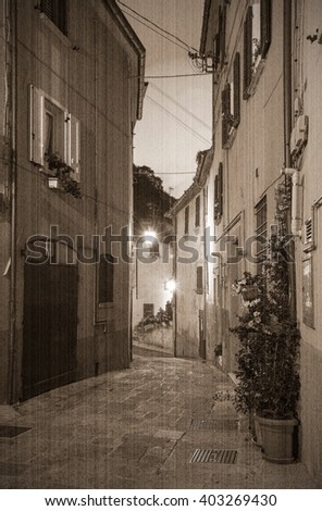 Evening small streets the San - Marino. Old style. Sepia - stock photo