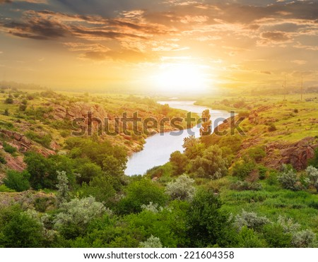 evening steppe river scene - stock photo