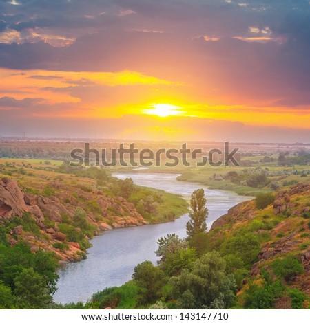 evening stony river canyon - stock photo