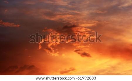 Evening storm clouds - stock photo