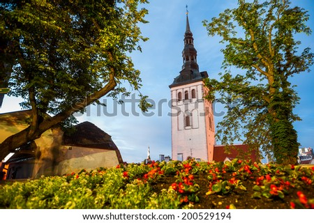 Evening summer aerial panorama of the Old Town architecture in Tallinn, Estonia - stock photo