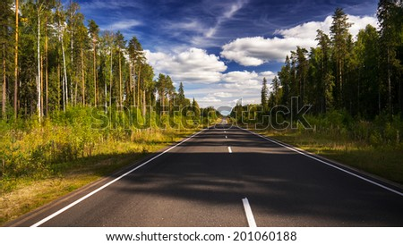 Evening summer forest road and clouded sky - stock photo