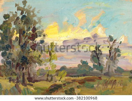 evening summer landscape painting