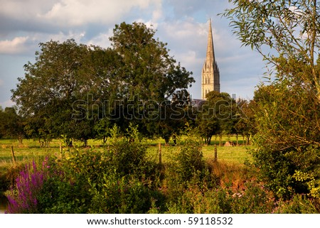Evening summer sunshine on Salisbury Cathedral, Wiltshire, UK