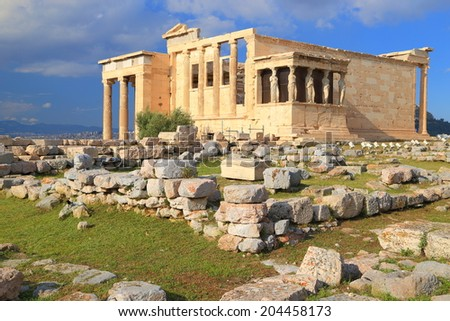 Evening sunlight on the western facade of the Erechtheion temple on the Athens Acropolis, Greece