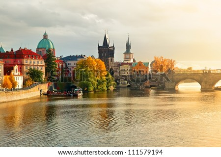evening sunset in the old town of Prague - stock photo