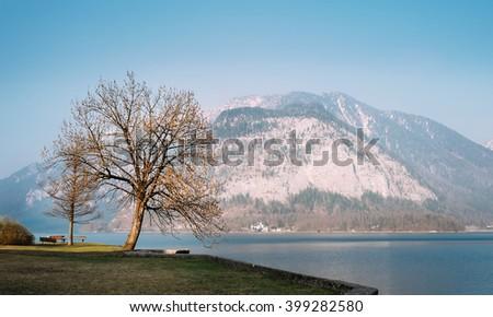 Evening time on mountain Hallstatt lake in Austria - stock photo