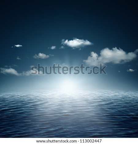 Evening time on the ocean, natural backgrounds