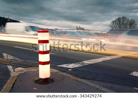 Evening traffic in the city, Prague - selective focus - stock photo