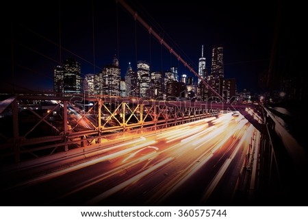 Evening Traffic in the New York City. Brooklyn Bridge Traffic. United States of America. - stock photo