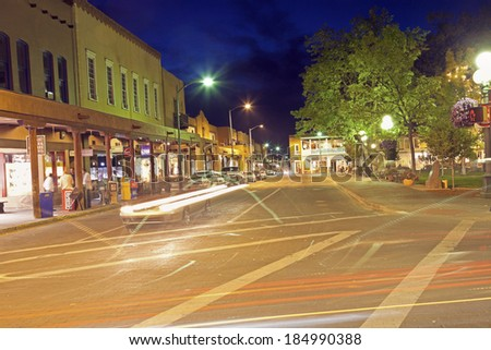 Evening traffic on San Francisco Street in downtown of Santa Fe   - stock photo