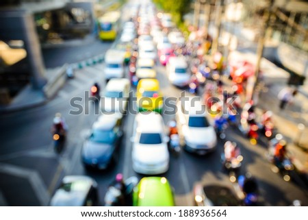 Evening traffic. The city lights. Motion blur. Abstract background , bangkok ,Thailand - stock photo