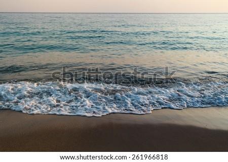 Evening tranquil sea landscape - stock photo