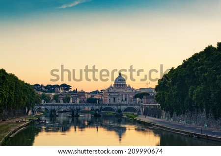 evening view at St. Peter's cathedral in Rome, Italy  - stock photo