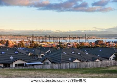 Evening view at sunset in the majestic Lake Taupo in the North Island of New Zealand - stock photo