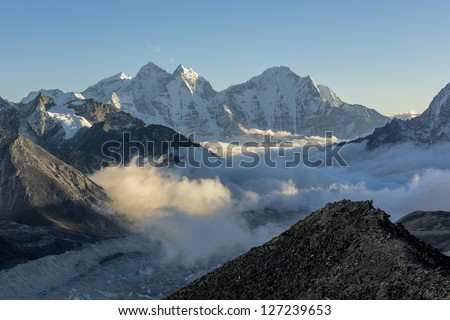 Mountain ranges stock images royalty free images vectors evening view from the kala patthar to the south everest region nepal sciox Gallery