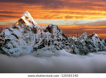 Evening view of Ama Dablam on the way to Everest Base Camp - stock photo