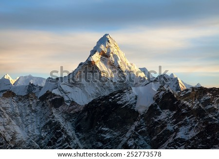 Mountain peak stock images royalty free images vectors evening view of ama dablam on the way to everest base camp nepal sciox Gallery