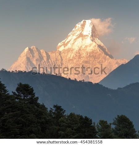 evening view of Ama Dablam, one of the best mountain on the way to Everest base camp, Nepal - stock photo