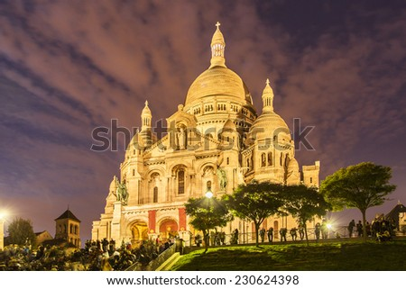 Evening view of Basilica Sacre Coeur in Montmartre in Paris, France - stock photo