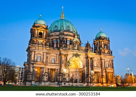 Evening view of Berlin Cathedral (Berliner Dom), Berlin, Germany - stock photo
