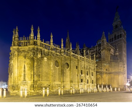 Evening  view of  Cathedral of Seville.  Andalusia,  Spain  - stock photo